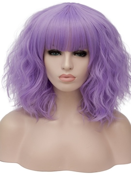 Ericdress Full Fringe Purple Medium Wavy Capless Synthetic Wig 14 Inches