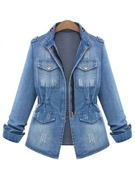 Ericdress Slim Stand Collar Zipper Denim Jacket