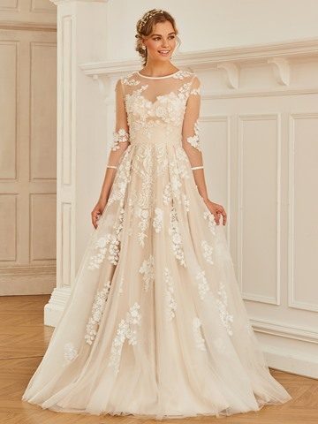 Ericdress Scoop Appliques Ball Gown Tulle Wedding Dress