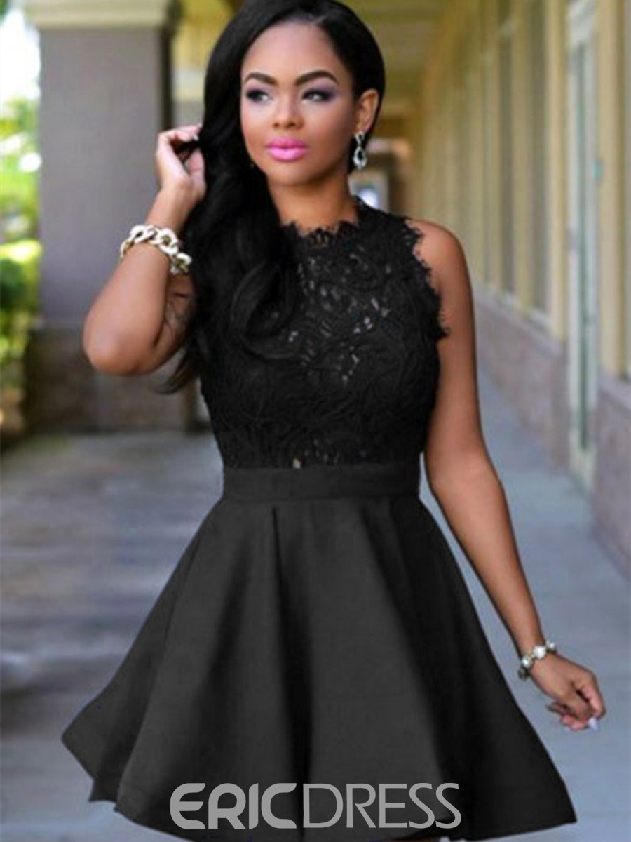 Ericdress A Line Scoop Neck Lace Zipper Up Short Homecoming Dress