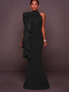 Ericdress Ruffle Stand Collar Floor-Length Maxi Dress
