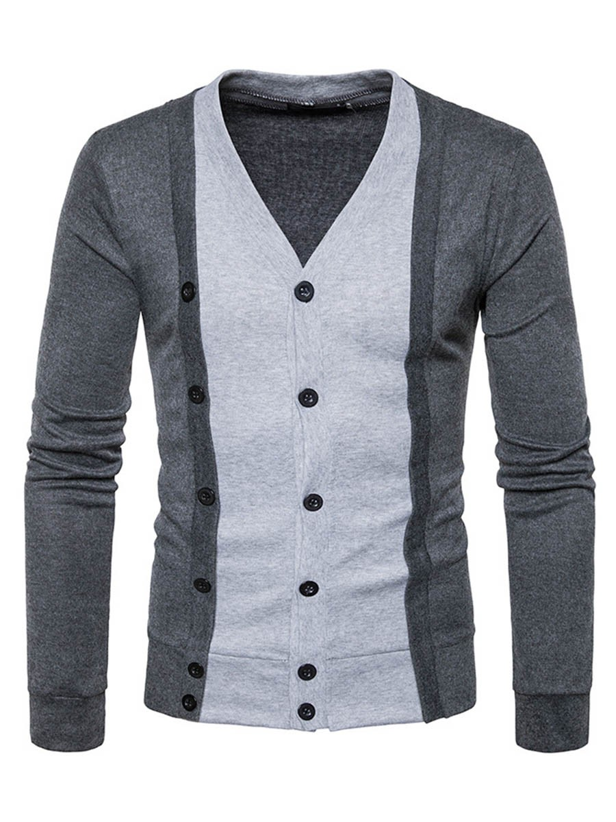Ericdress Color Block Double-Layer Casual Men's Knitwear