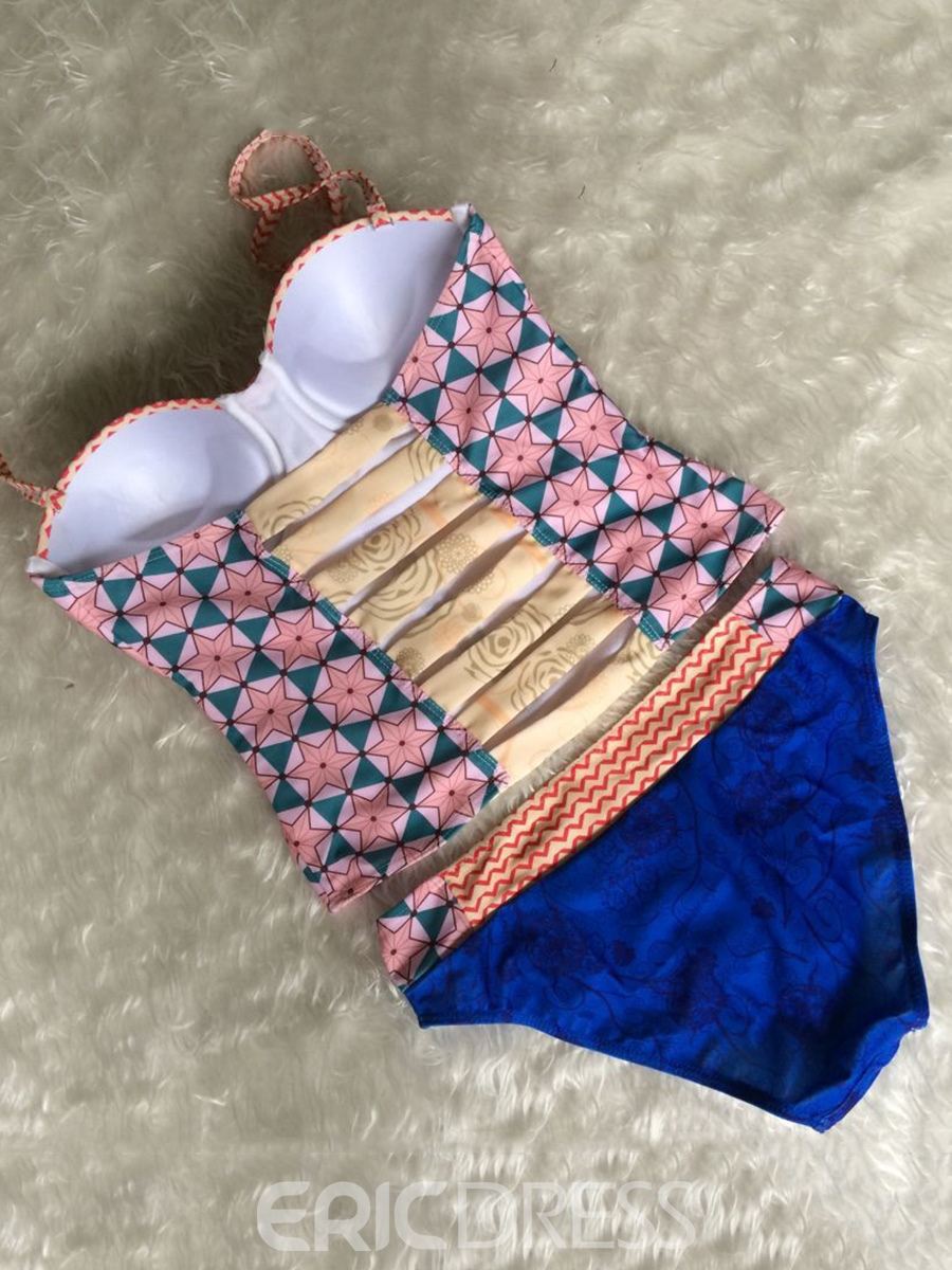 Ericdress Geometric Print Stripe Hollow Tankini Set