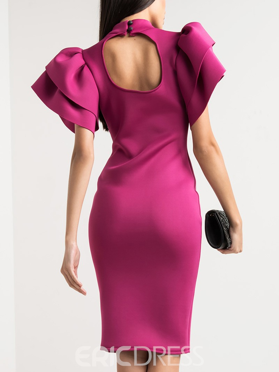 Ericdress Stand Collar Ruffles Short Sleeve Bodycon Dress