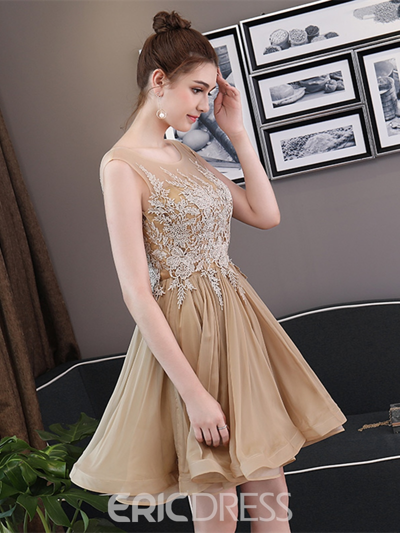 Ericdress A-Line Cap Sleeve Appliques Short Homecoming Dress