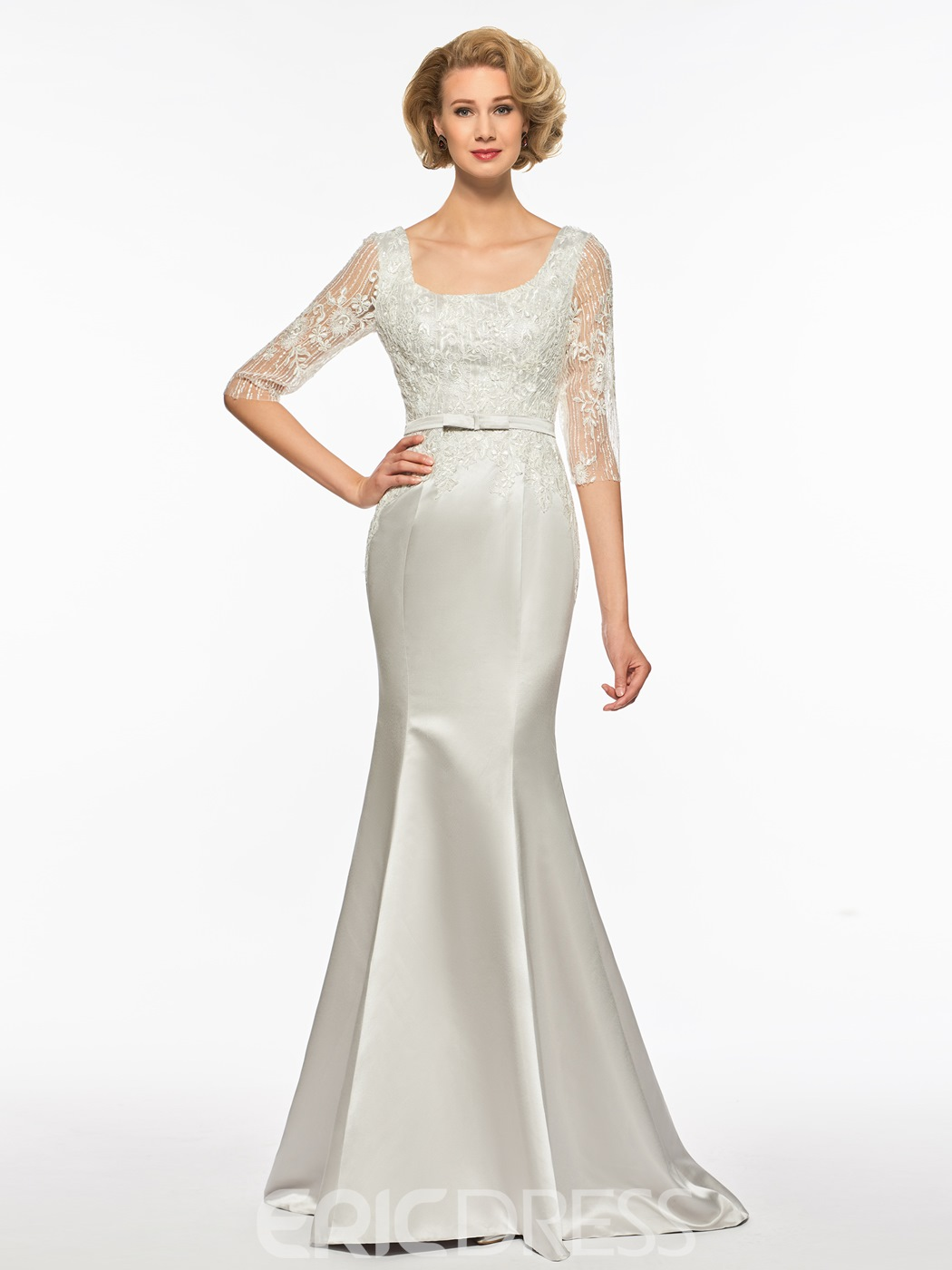Ericdress Square Mermaid Half Sleeves Appliques Long Mother Of The Bride Dress