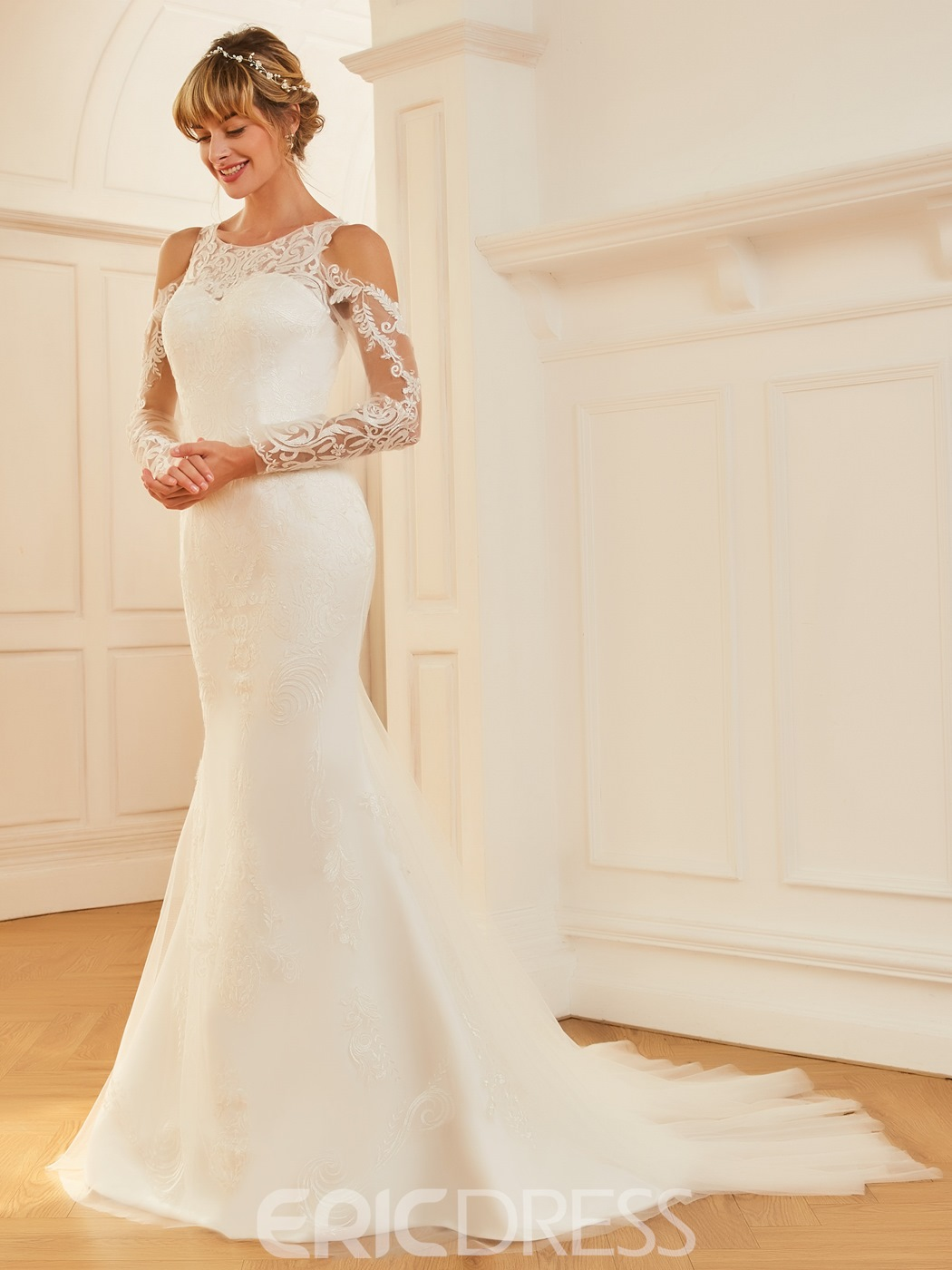Ericdress Lace Long Sleeves Mermaid Tulle Wedding Dress