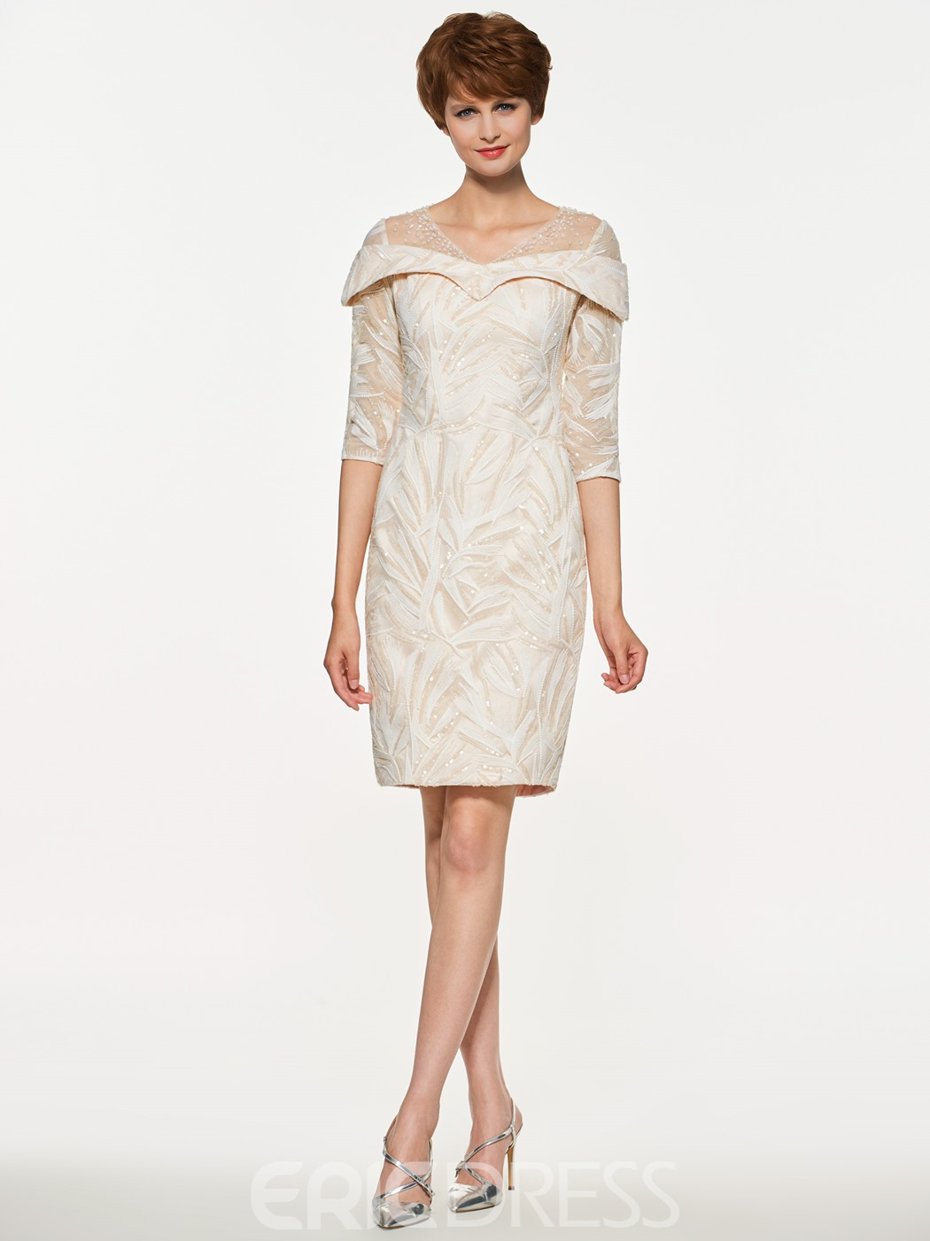 Ericdress V Neck Sheath Lace Half Sleeves Knee Length Mother Of The Bride Dress