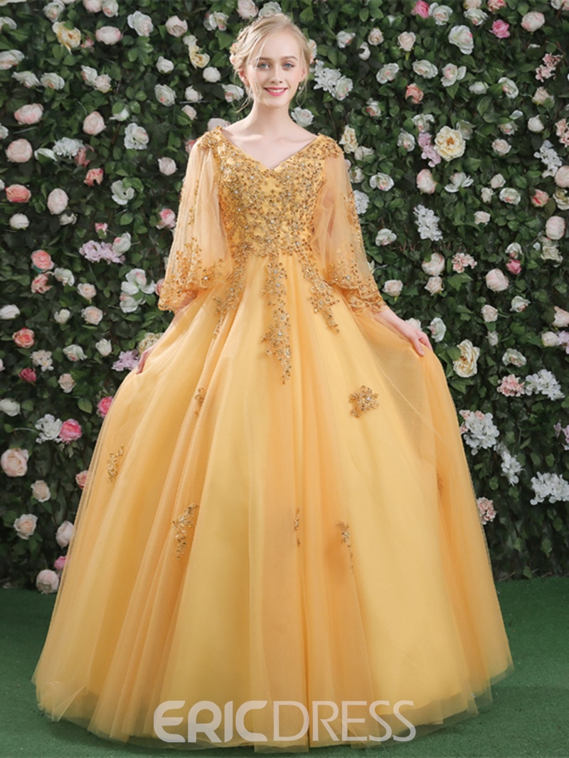 6c686a3368 Ericdress Ball Gown Appliques Beading V-Neck Long Sleeves ...