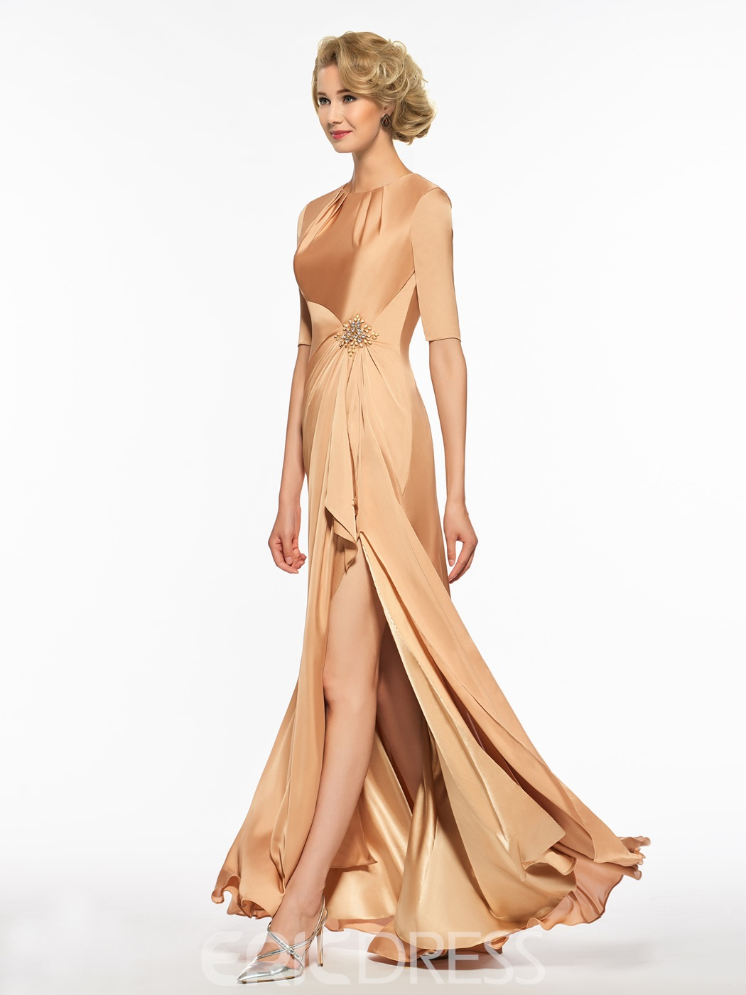 Ericdress Scoop A Line Backless Half Sleeves Mother Of The Bride Dress