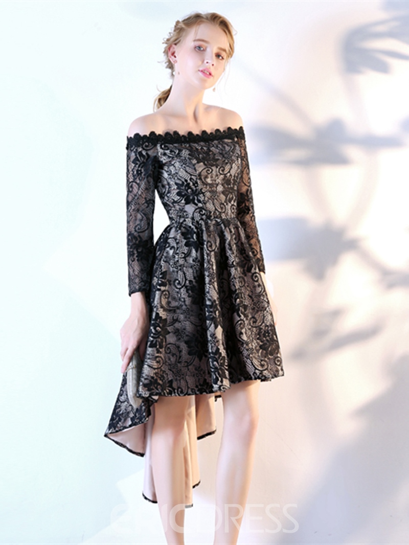 Ericdress A-Line Long Sleeves Lace Off-the-Shoulder Asymmetry Homecoming Dress
