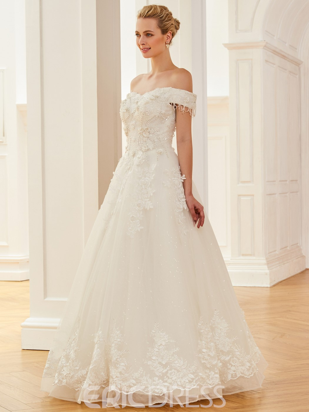 Ericdress Off The Shoulder Appliques A Line Gorgeous Wedding Dress