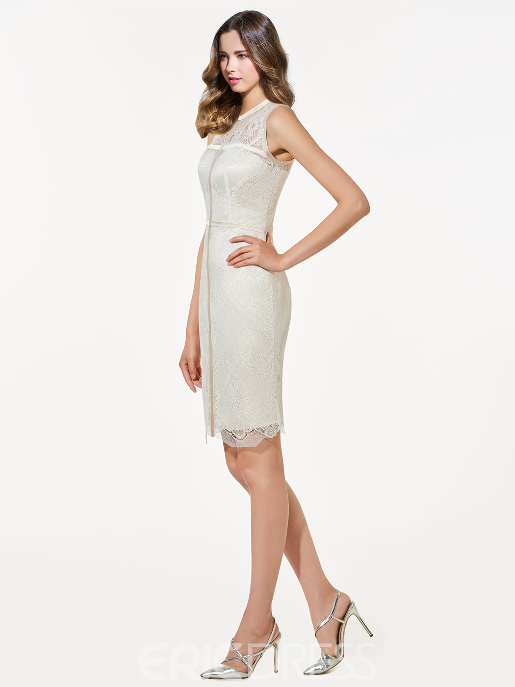 Ericdress Sheath Zipper-Up Scoop Lace Knee-Length Cocktail Dress