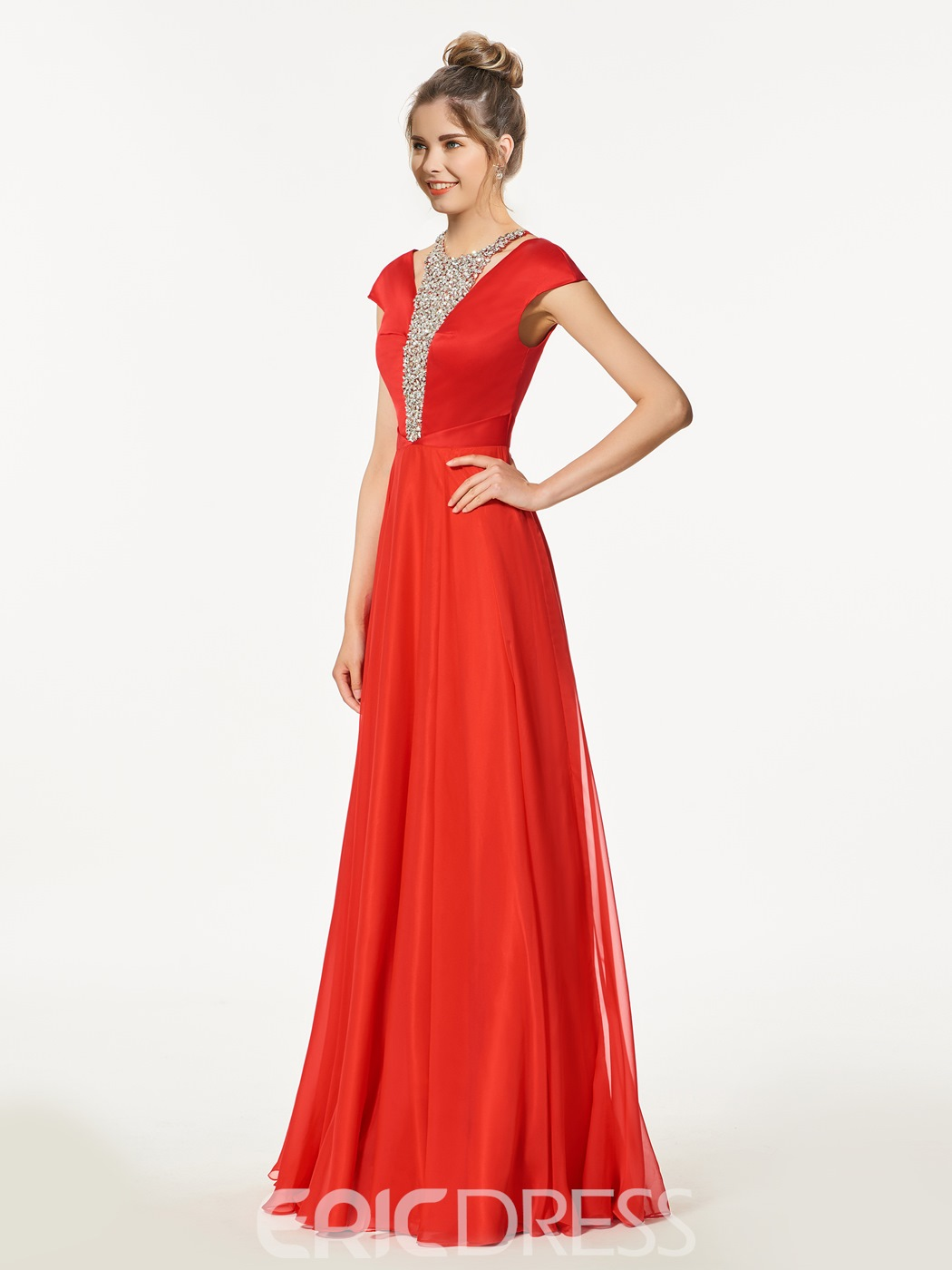 Ericdress A-Line Beading Cap Sleeves Floor-Length Prom Dress