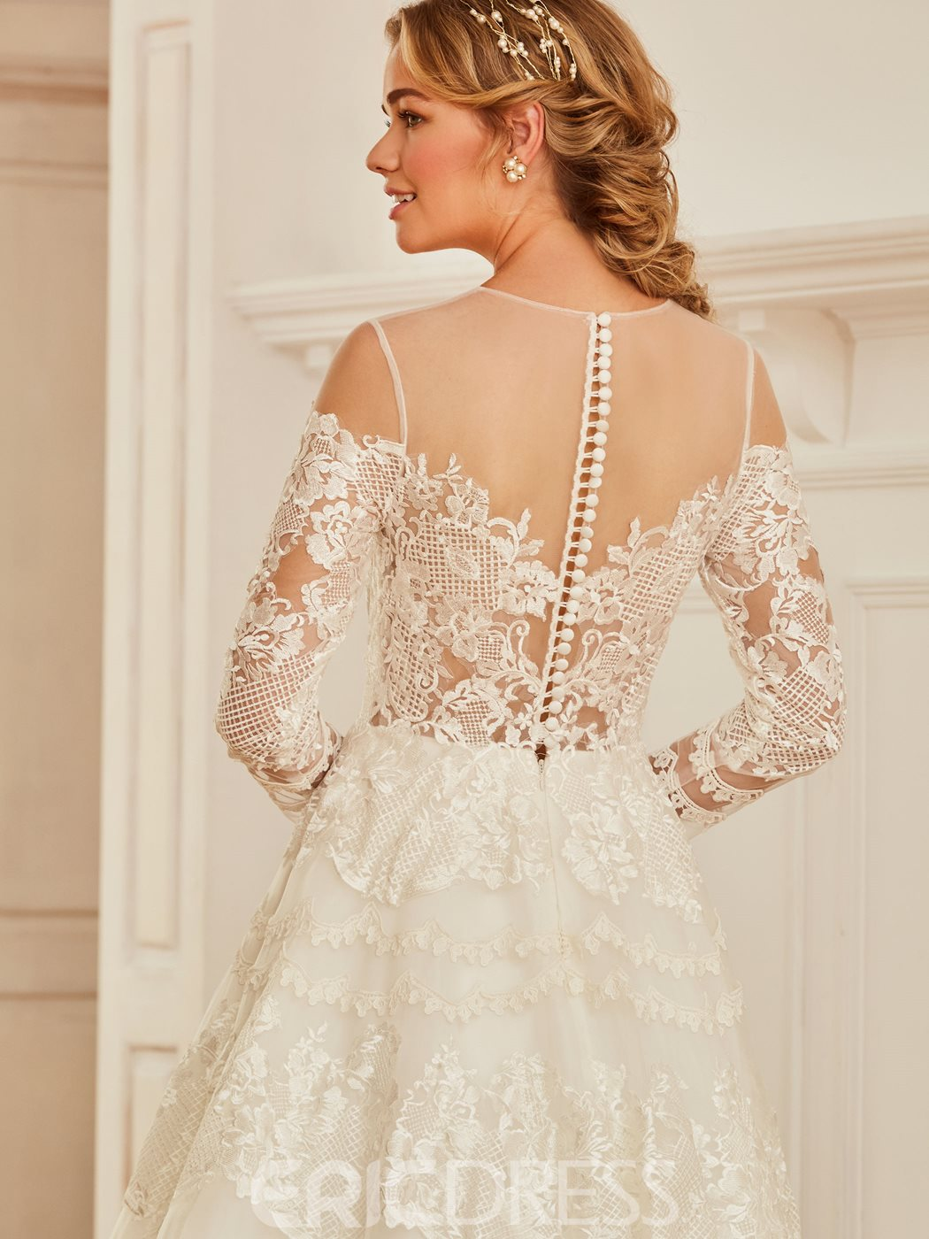 Ericdress Illusion Neckline Appliques Long Sleeves A Line Wedding Dress