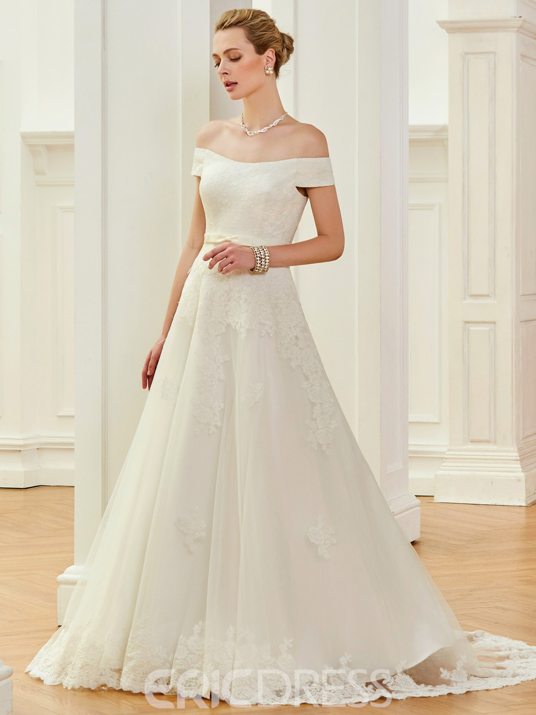 Ericdress Off The Shoulder A Line Court Train Wedding Dress