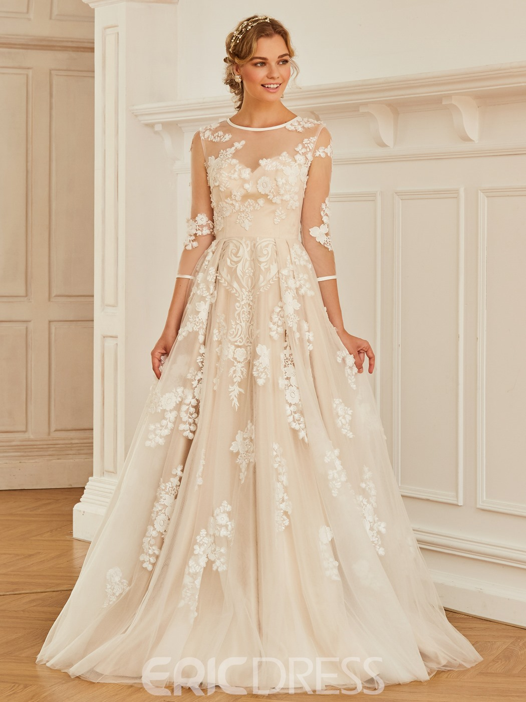 Ericdress Appliques Button Wedding Dress with Sleeves