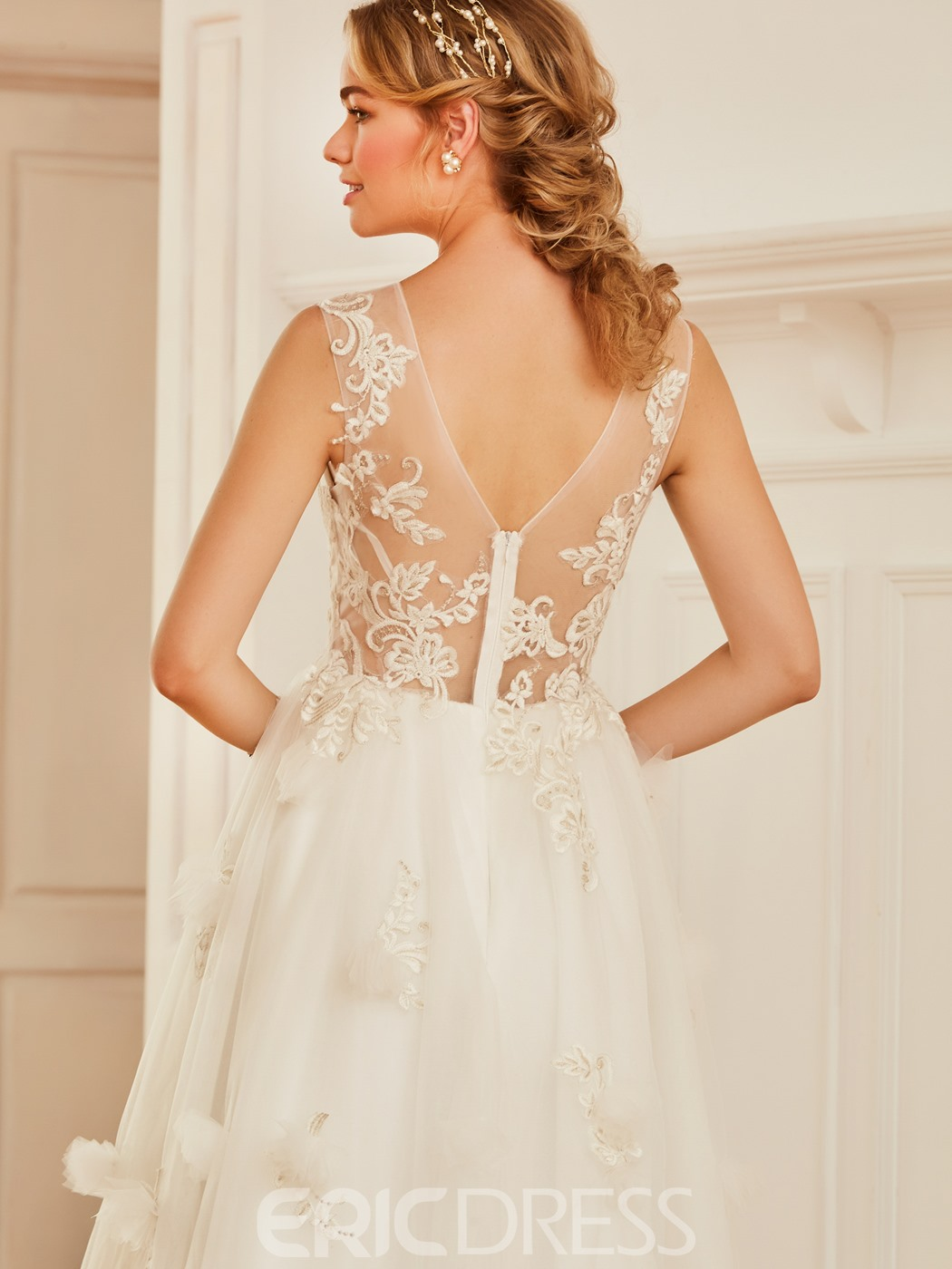 Ericdress Scoop Appliques Tulle Tea Length Wedding Dress