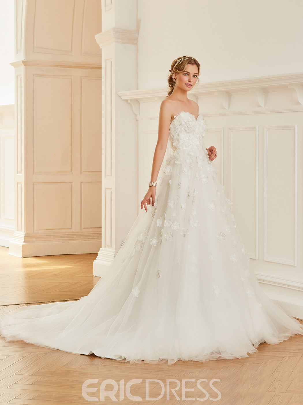 Ericdress Sweetheart Ball Gown Flowers Tulle Wedding Dress