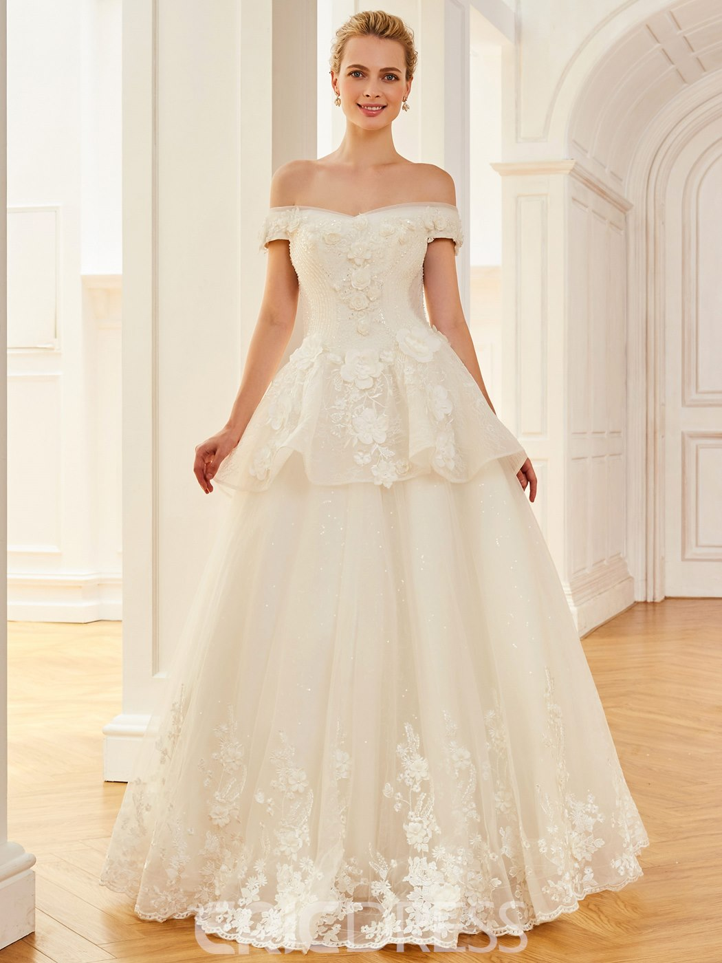 Ericdress Off The Shoulder Appliques Beaded Flowers A Line Wedding Dress