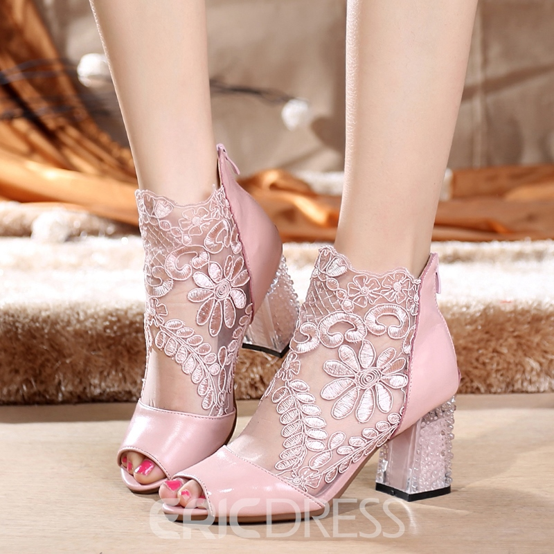 Ericdress Lace Embroidery Floral Back Zip Women's Sweet Ankle Boots