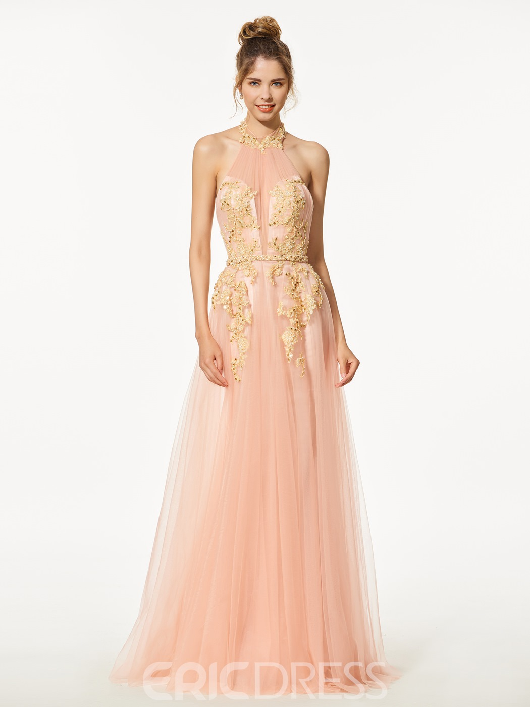 Ericdress A-Line Halter Appliques Beading Backless Prom Dress