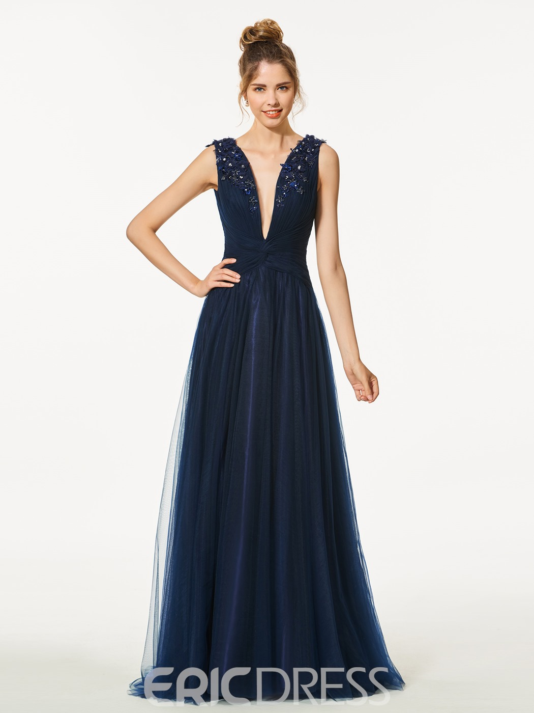 Ericdress A-Line V Neck Appliques Beading Backless Prom Dress