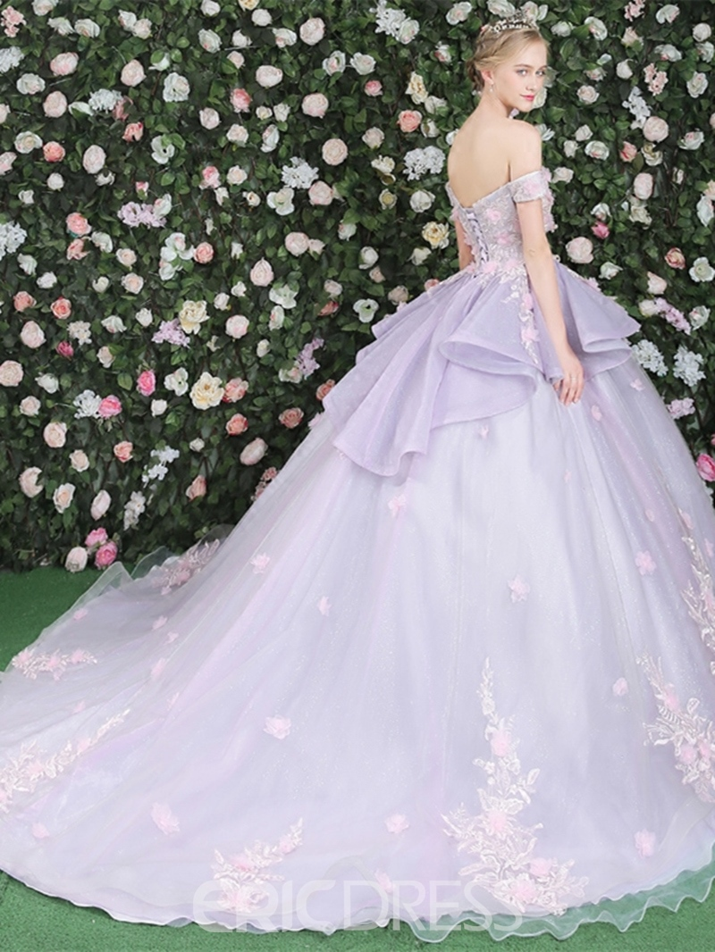 Ericdress Off-the-Shoulder Flowers Lace Ball Quinceanera Dress