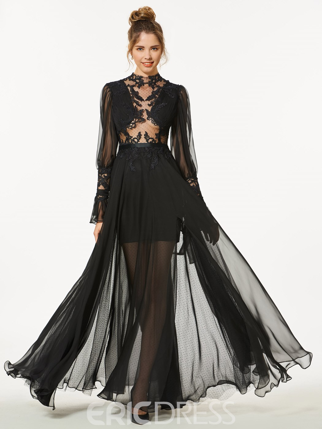 Ericdress A-Line Appliques Button Long Sleeves Floor-Length Prom Dress
