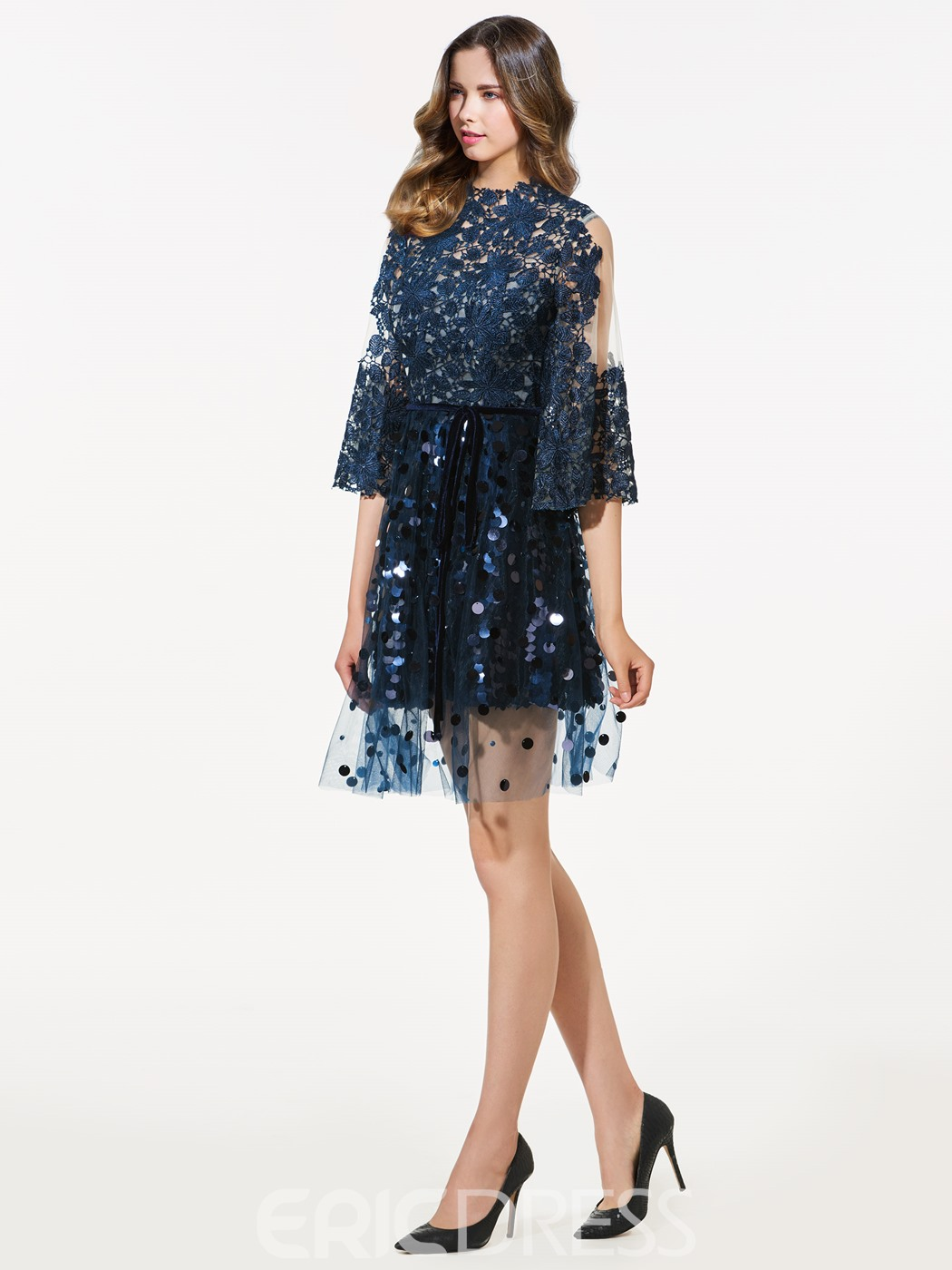 Ericdress A-Line Long Sleeves Scoop Lace Sequins Short Cocktail Dress