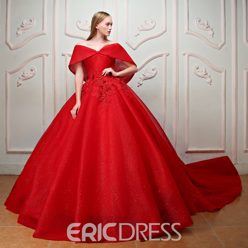 Ericdres Appliques Beaded Pearls Off-the-Shoulder Ball Quinceanera Dress