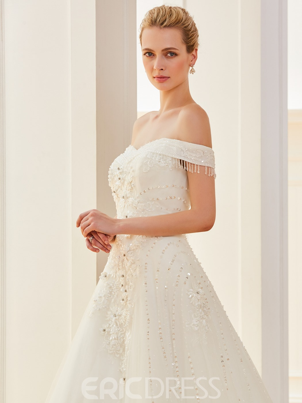 Ericdress Off The Shoulder Appliques Beaded A Line Wedding Dress