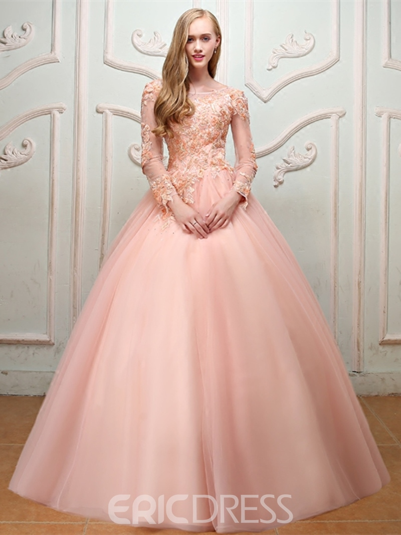 746091e216 Ericdress Pearl Bateau Long Sleeve Ball Gown Quinceanera Dress  2019(13756731)