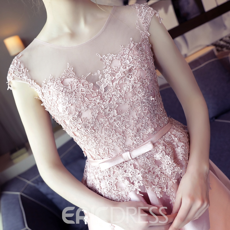 Ericdress Scoop Appliques Bowknot Sashes Cap Sleeves Asymmetry Homecoming Dress