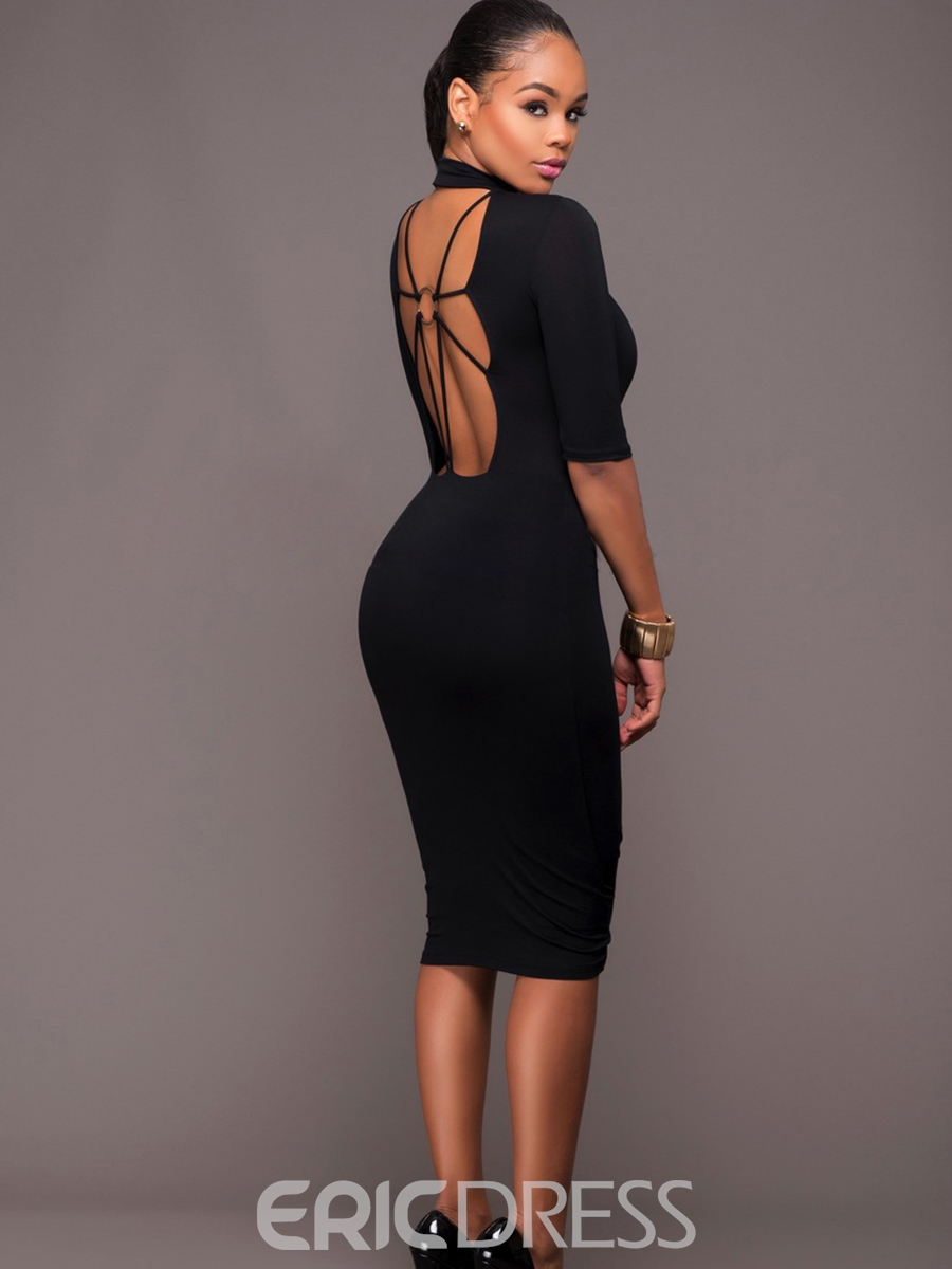 Ericdress Plain Backless Knee-Length Sheath Dress