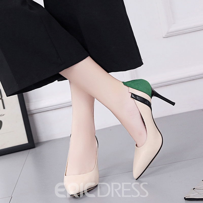 Ericdress Plain Color Block Stiletto Heel Pumps
