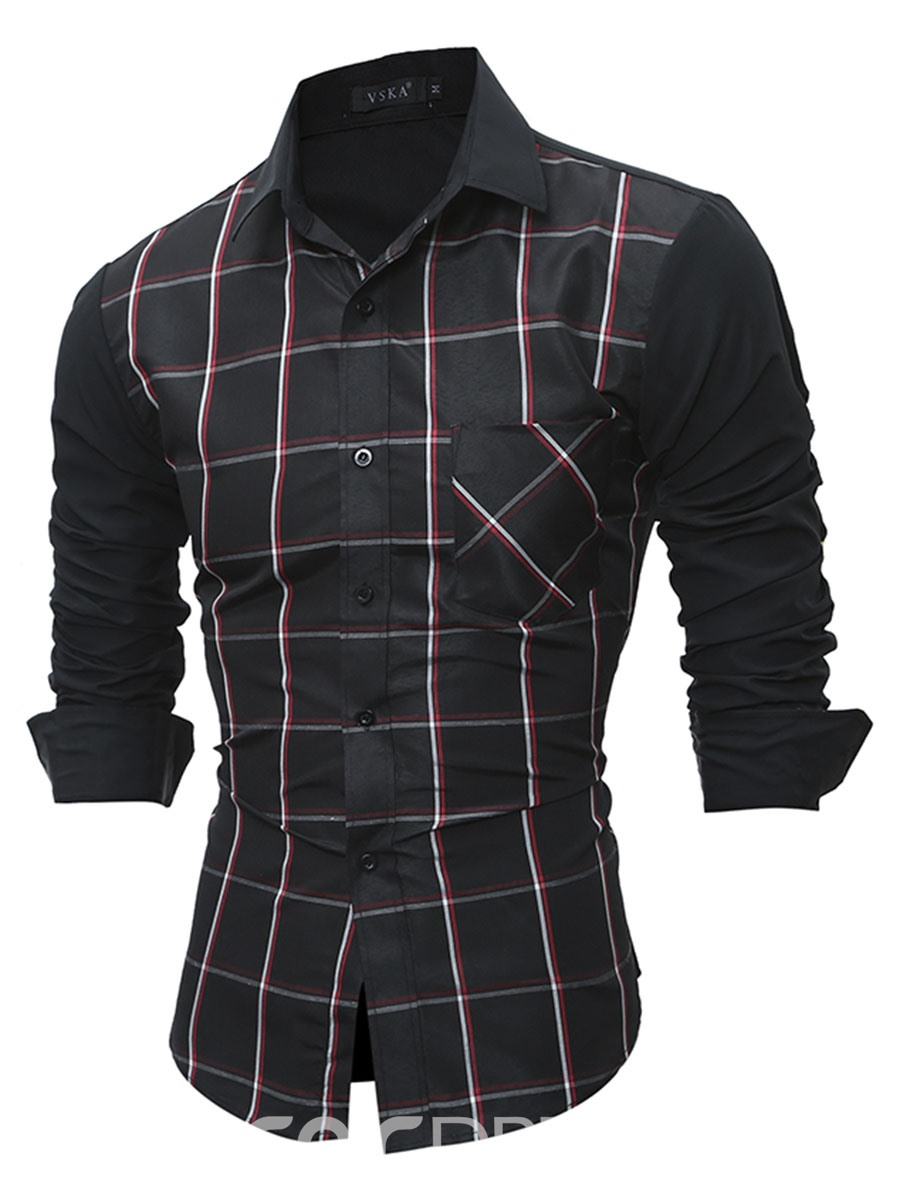 Ericdress Plaid Pocket Patched Long Sleeve Slim Men's Shirt