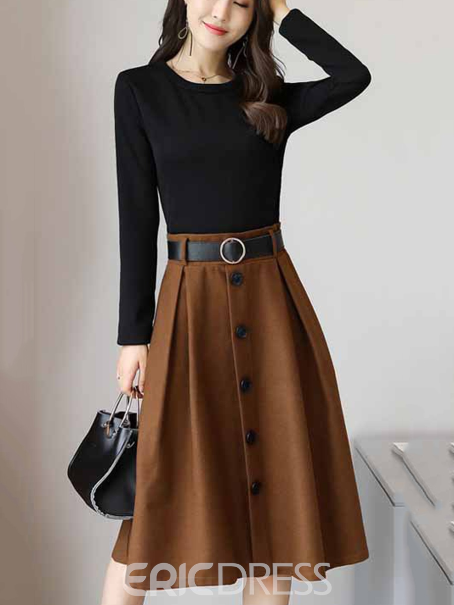 Ericdress Contrast Color Double-Layer Long Sleeve Dress