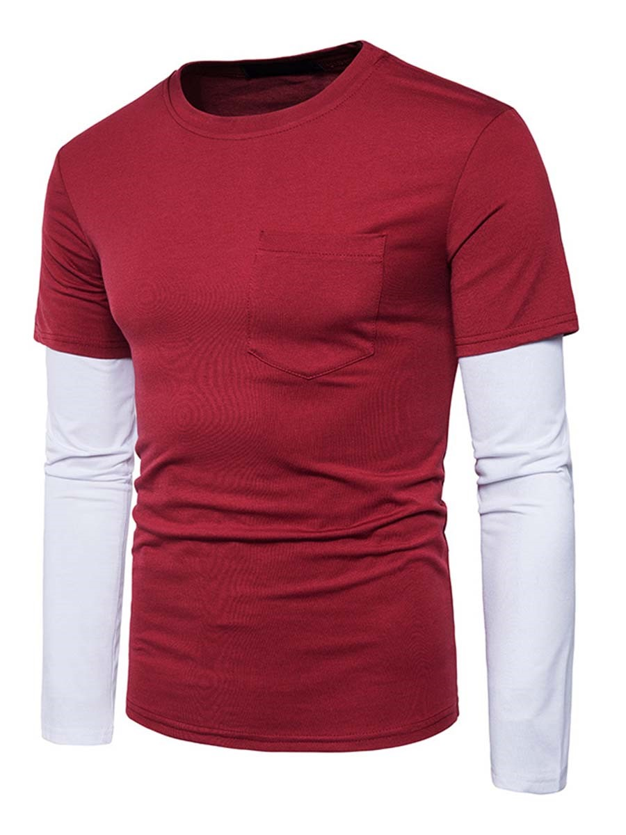 Ericdress Unique Color Block Patched Long Sleeeve Men's T-Shirt