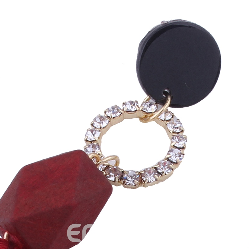 Ericdress Attractive Red Rope Tassel Diamante Fashion Earring