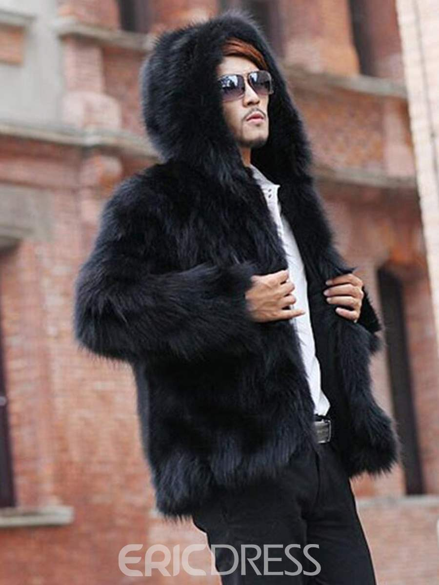 Ericdress Plain Fur Hooded Thicken Warm Vogue Men's Winter Coat