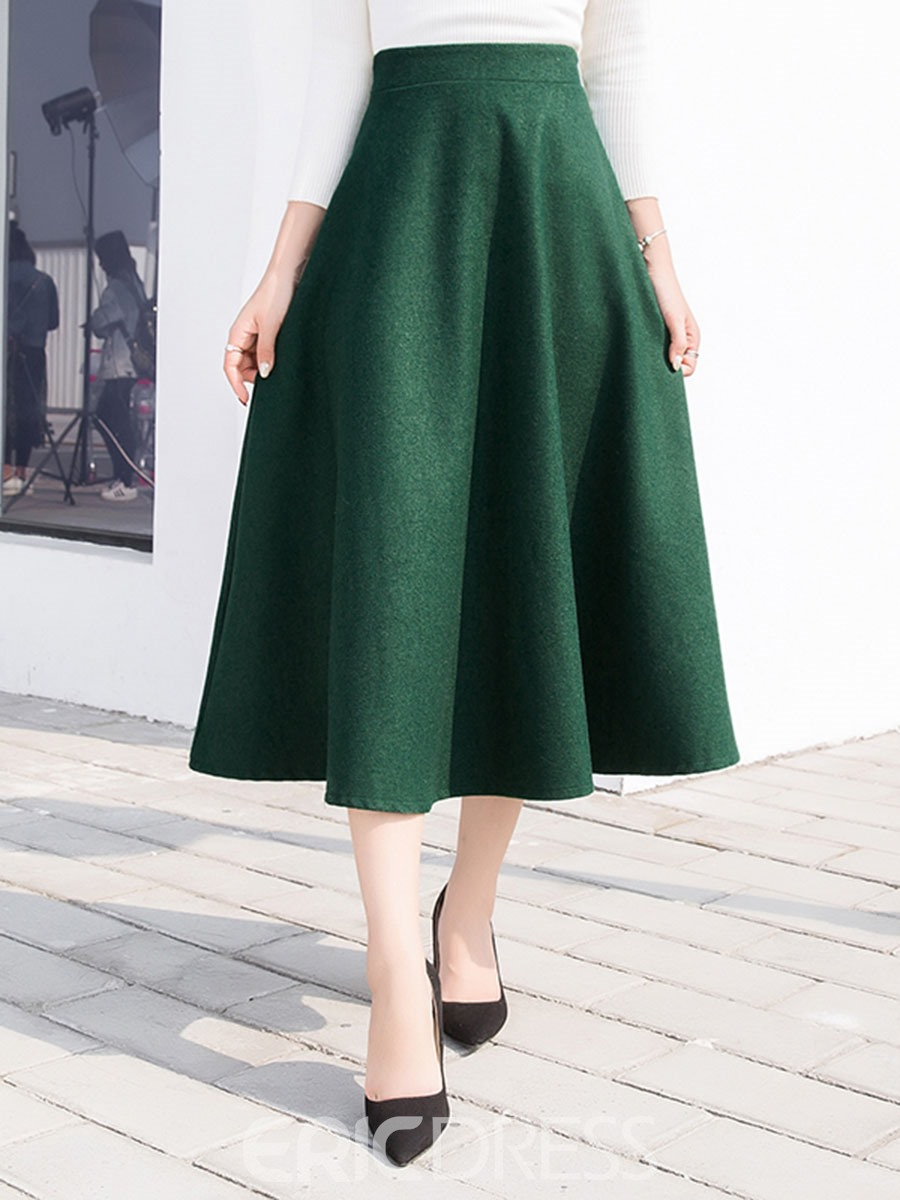 Ericdress Pleated High-Waist Pure Color Skirts