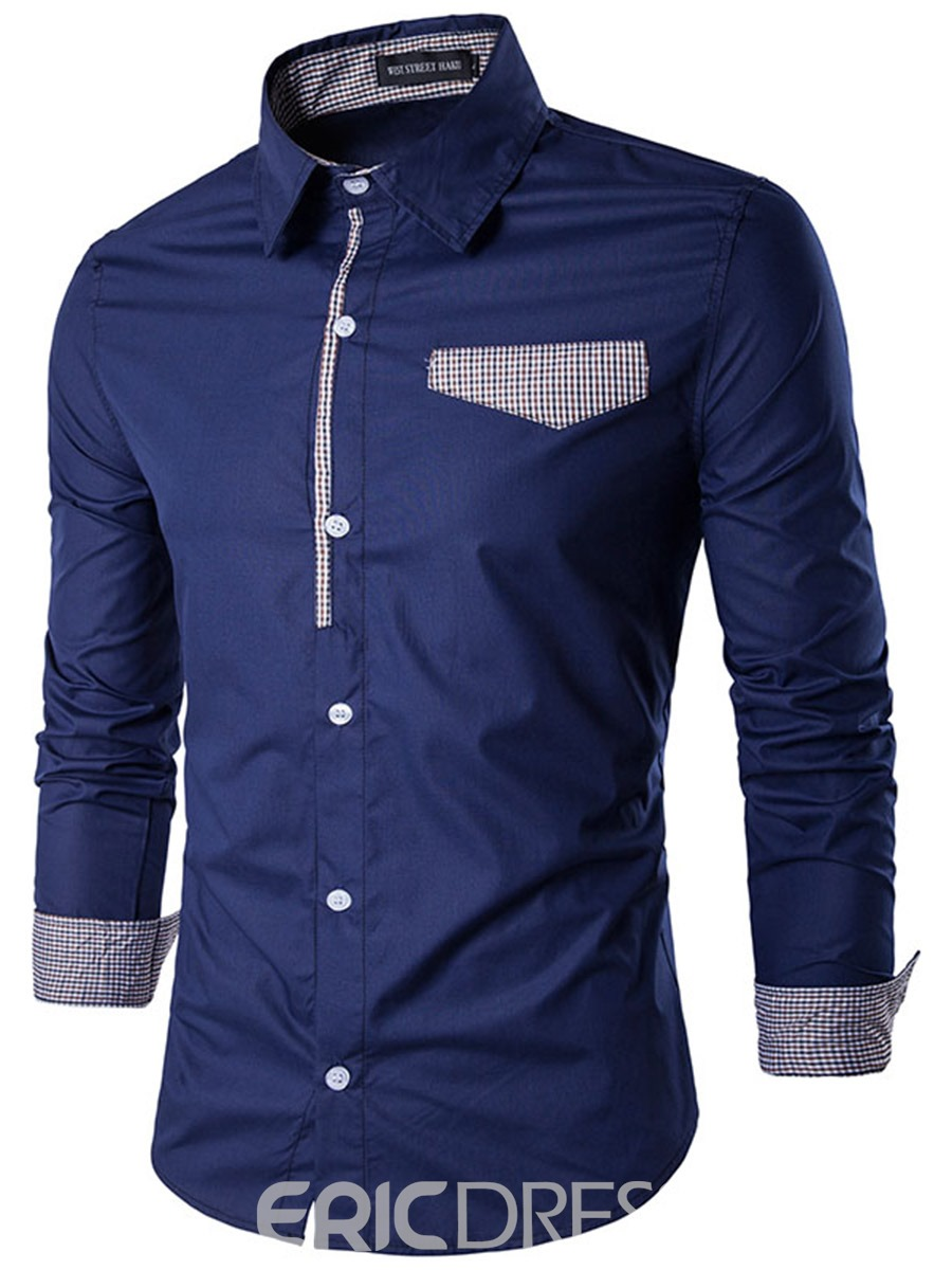 Ericdress Lapel Patchwork Color Block Men's Shirt