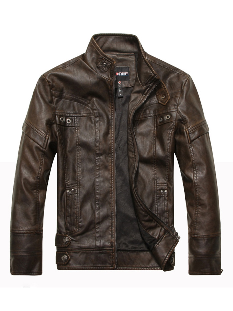 Ericdress Plain Stand Collar Zipper Mens Leather Jacket