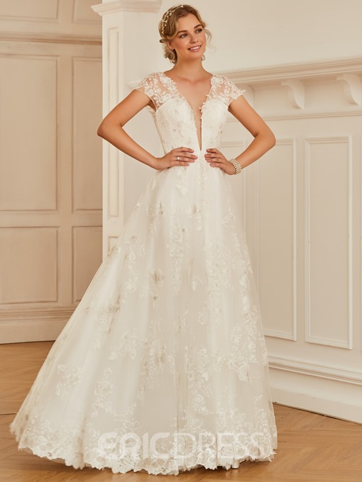 Ericdress V Neck A Line Cap Sleeves Appliques Tulle Wedding Dress
