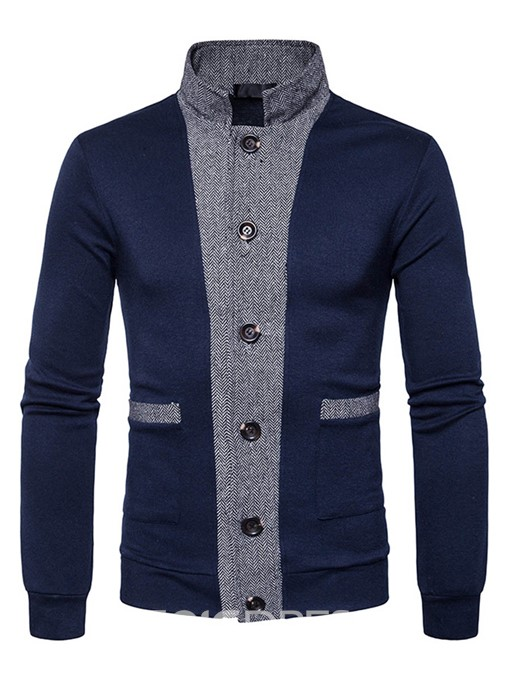 Ericdress Color Block Single-Breasted Casual Men's Knitwear