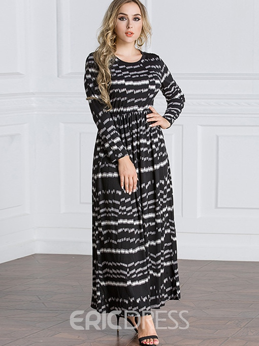 Ericdress Plus Size Round Neck Long Sleeve Print Geometric Expansion Dress