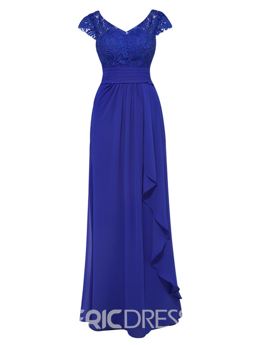Ericdress Sheath Cap Sleeves Ruffles Long Evening Dress