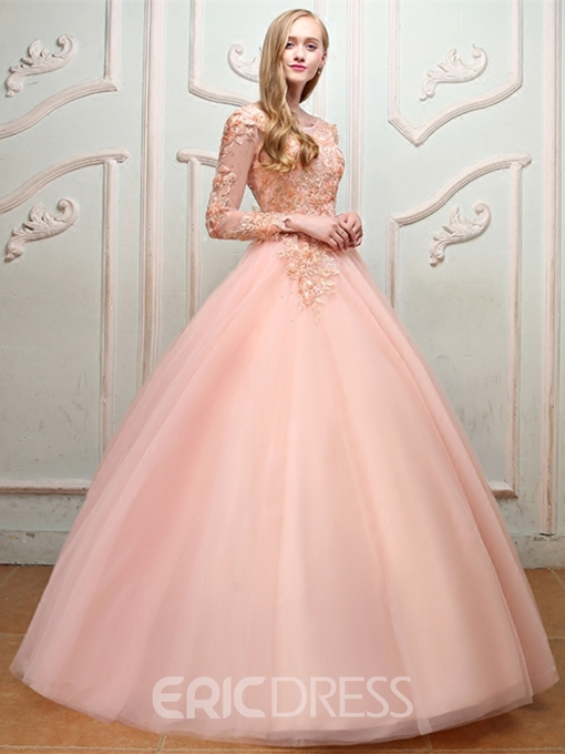 Ericdress Pearl Bateau Long Sleeve Ball Gown Quinceanera Dress