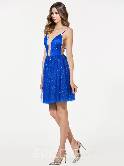 Ericdress Short A Line Spaghetti Straps Beaded Backless Homecoming Dress